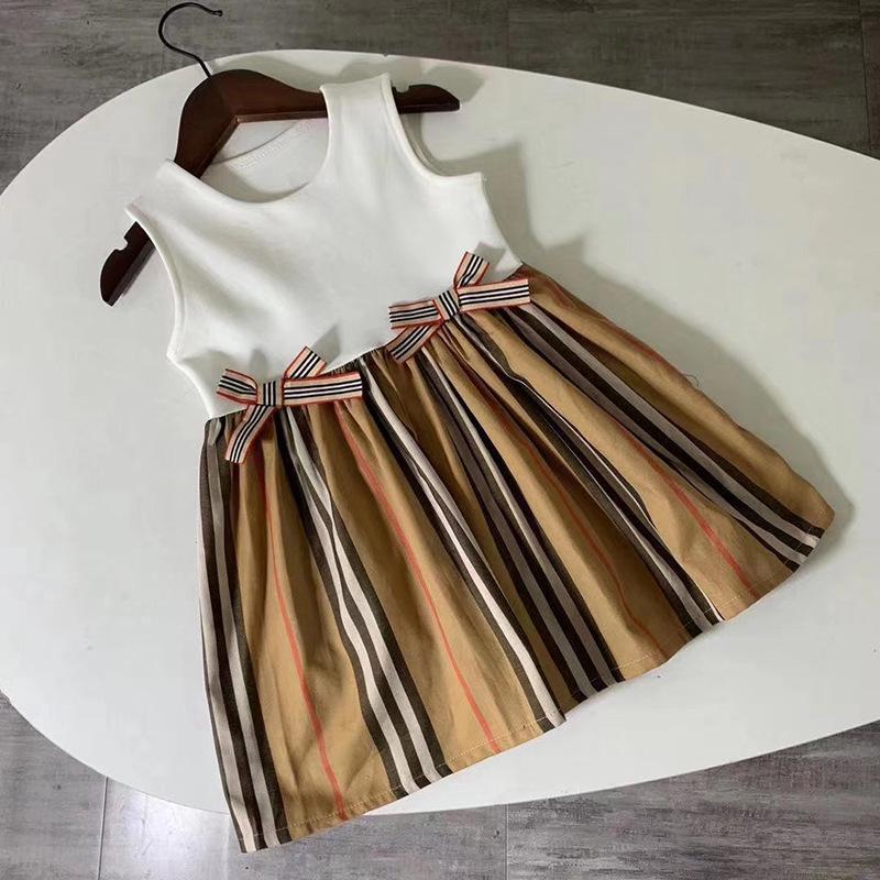 2021 летнее лето новая девушка дизайнерская принцесса платье детей полоса на полоску лучи плиссированные платья дети сладкое платье платье без рукавов Sundress C6954