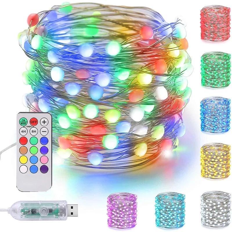 LED Fariy String Light USB 12Color 18key Telecomando Remote Lampada Ghirlanda Decorazione natalizia Tv Strip Retroilluminazione all'aperto illuminazione
