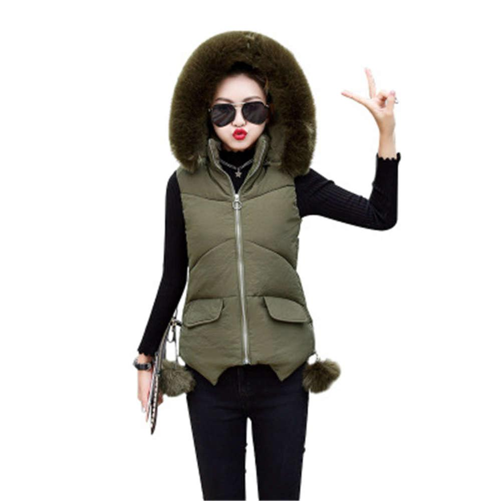 2020 Autumn Fake Fur Collar For Women Winter Casual Warm Thick Waistcoat Sleeveless Solid Hooded Vest Female K1074