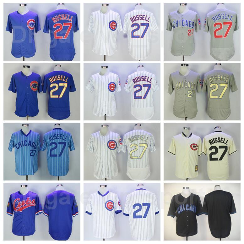 Vintage 1988 Baseball 27 Addison Russell Retro Jersey FlexBase Team Cool Base Pullover Nadelstreifen Alle genähten Blau Weiß Grau Beige