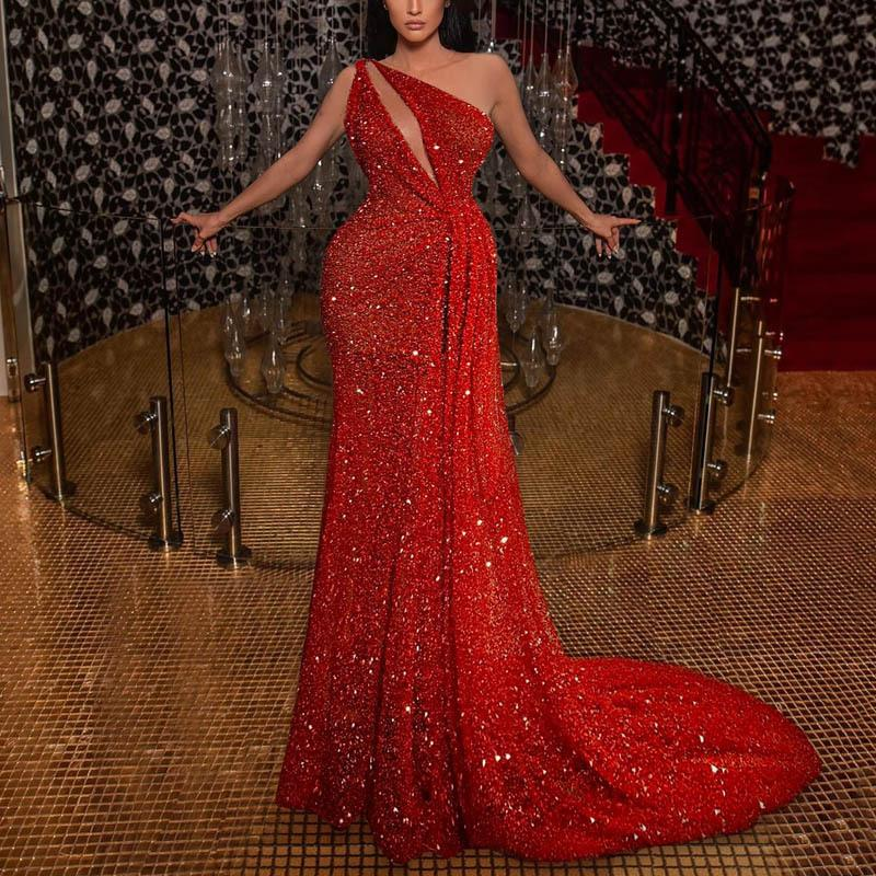 Arabic Glitter Red Sequined Formal Evening Dresses 2021 One Shoulder Mermaid Shiny Long Prom Party Dress Train Sparkly Special Occasion Gown