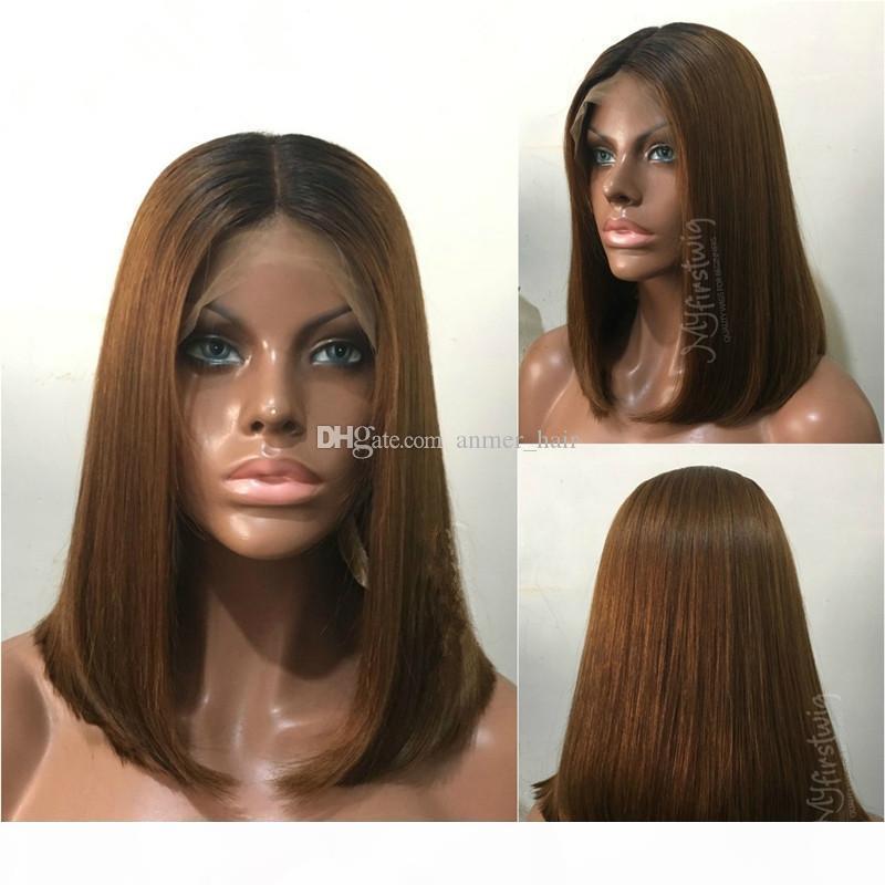 Человеческие волосы Bob парики OMBRE T1B 30 бразильские волосы девственницы 130 плотность натуральные волосы с детскими волосами отбеленные узлы