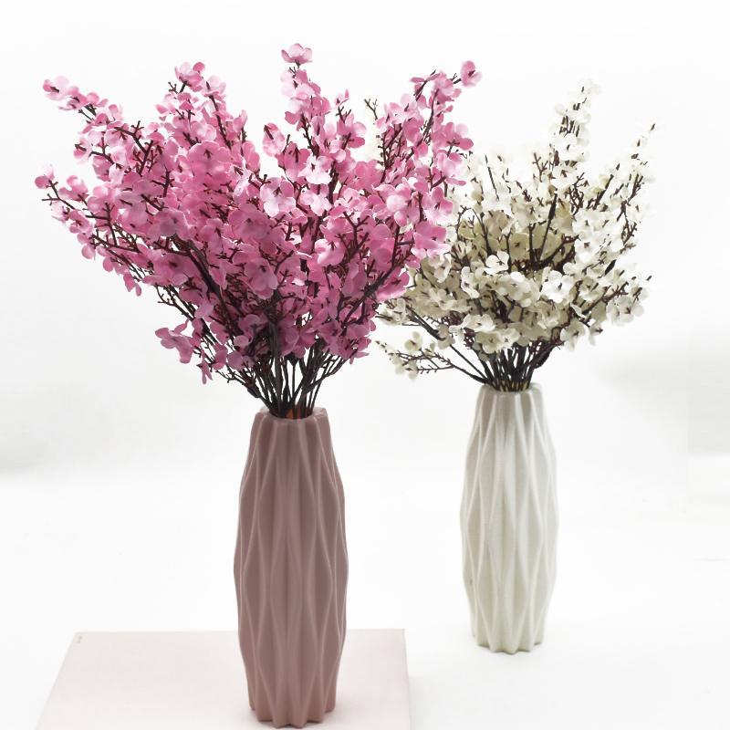 Silk gypsophila fleurs artificielles pour décoration maison home plastique souche mariée mariée bouquet mariage meriage fleur de cerisier fausse fleur