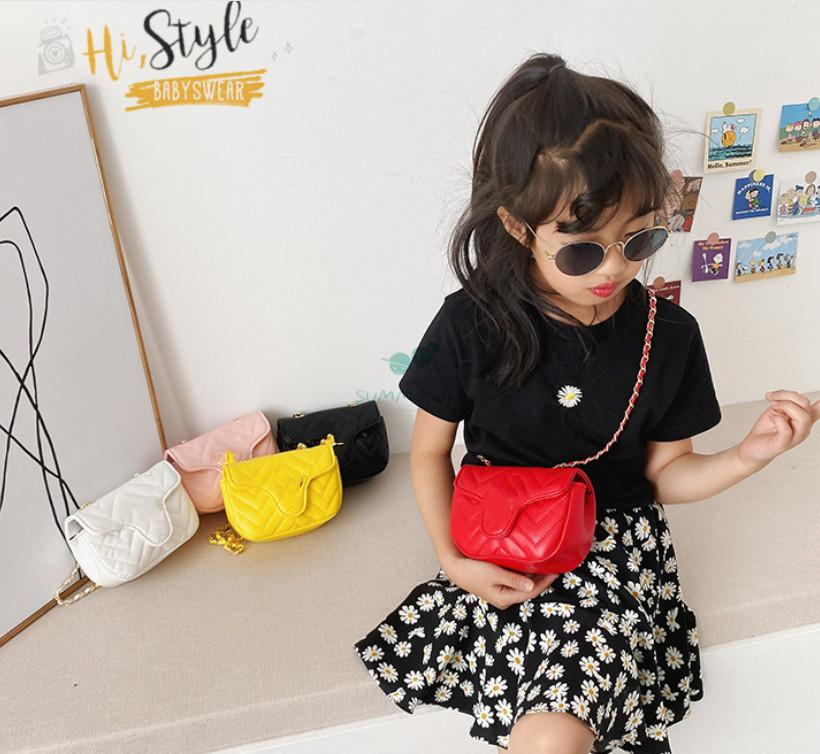 Designer kids metal chain handbag girls messenger bags children diamond lattice single shoulder bag luxury women mini purse A6097
