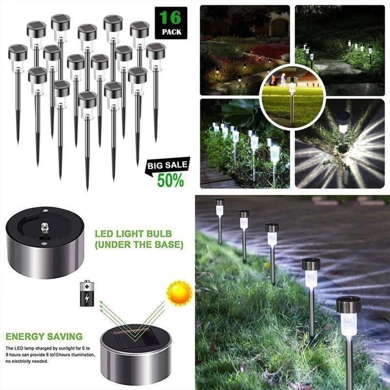 LED Solar Lichter LED Rasenlicht Edelstahlgarten Outdoor Sun Light Corridor Lampe Outdoor Gartenlampe Solarbetriebene farbige Solarlampen