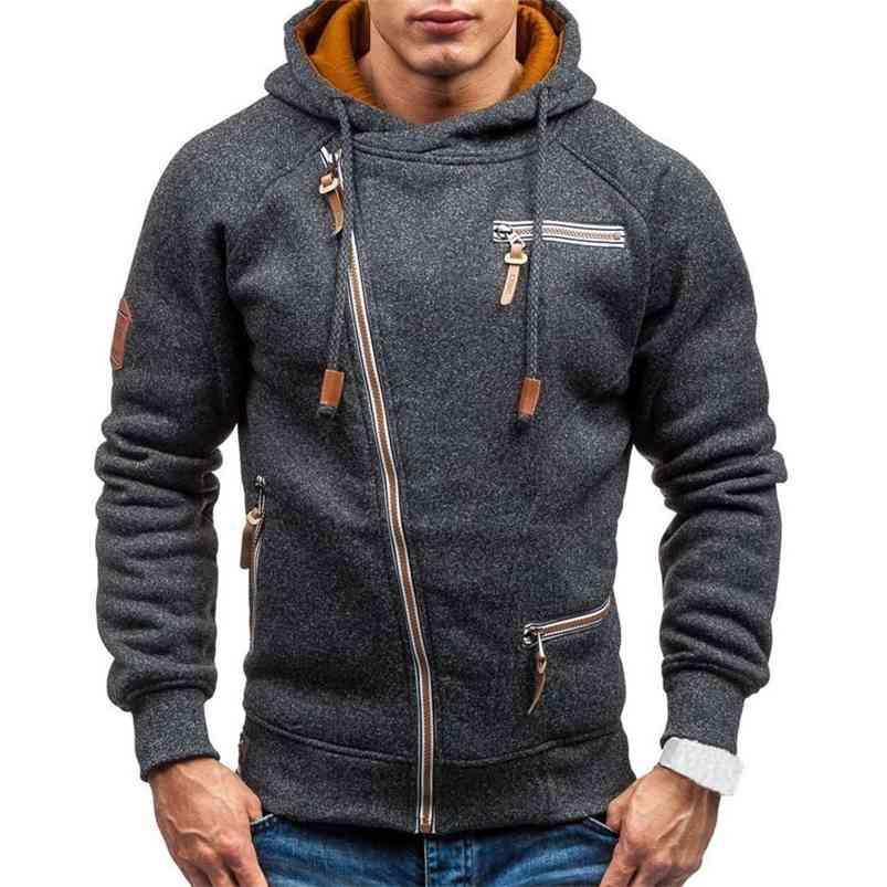 Hoodie Hommes Automne Casual Solide Manches Longues Sweats à capuche Sweatshirts Spain Zipper Sweat à capuche Sweat-shirt Hommes Streetwear 210728