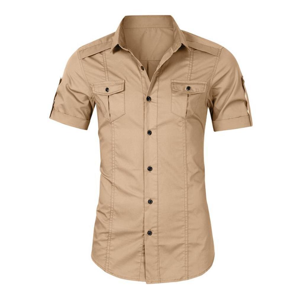 Mens Summer Loisirs Couleur Solide Coller Collier à manches courtes Bouton à manches courtes Poche Casual Shirt Business Mode Shirts