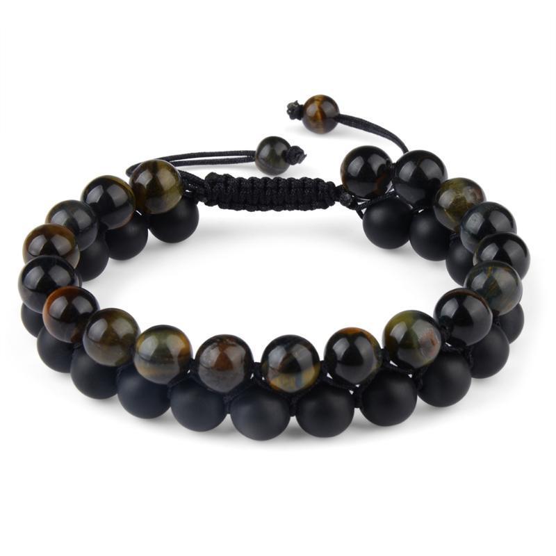 Tiger Eyes Healing Natural Stone Beaded Bracelet Adjustable Braided Rope Double Row Yoga New Fashion Men Stone Bracelet