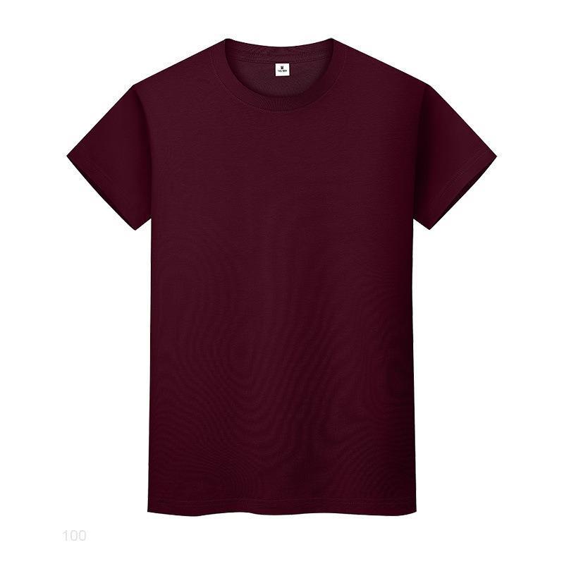 Nouveau t-shirt de couleur solide ronde en coton à manches courtes et à manches courtes à manches longues et à manches longues
