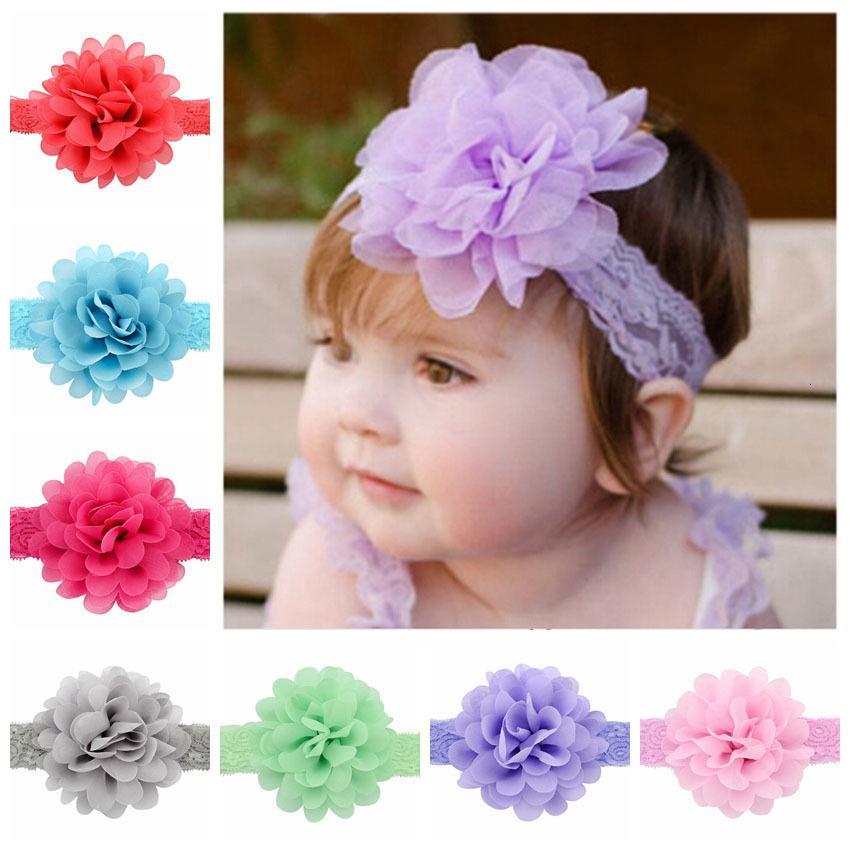 12pcs / lot Fashion Girls Accessori Chiffon Flower Flower Fascia Neonata Capanna Hairband Capelli elastico per capelli 578