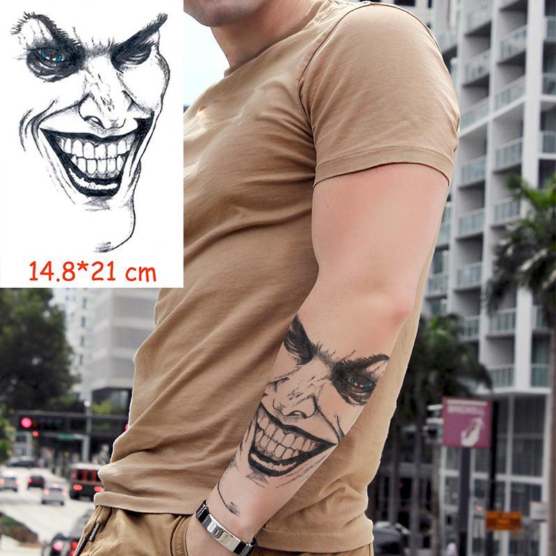 Su geçirmez Geçici Dövme Etiket Gülümseme Palyaço Drollul Tatoo Su Transferi Sahte Dövme Flaş Tatto Kadın Erkek Çocuk Için
