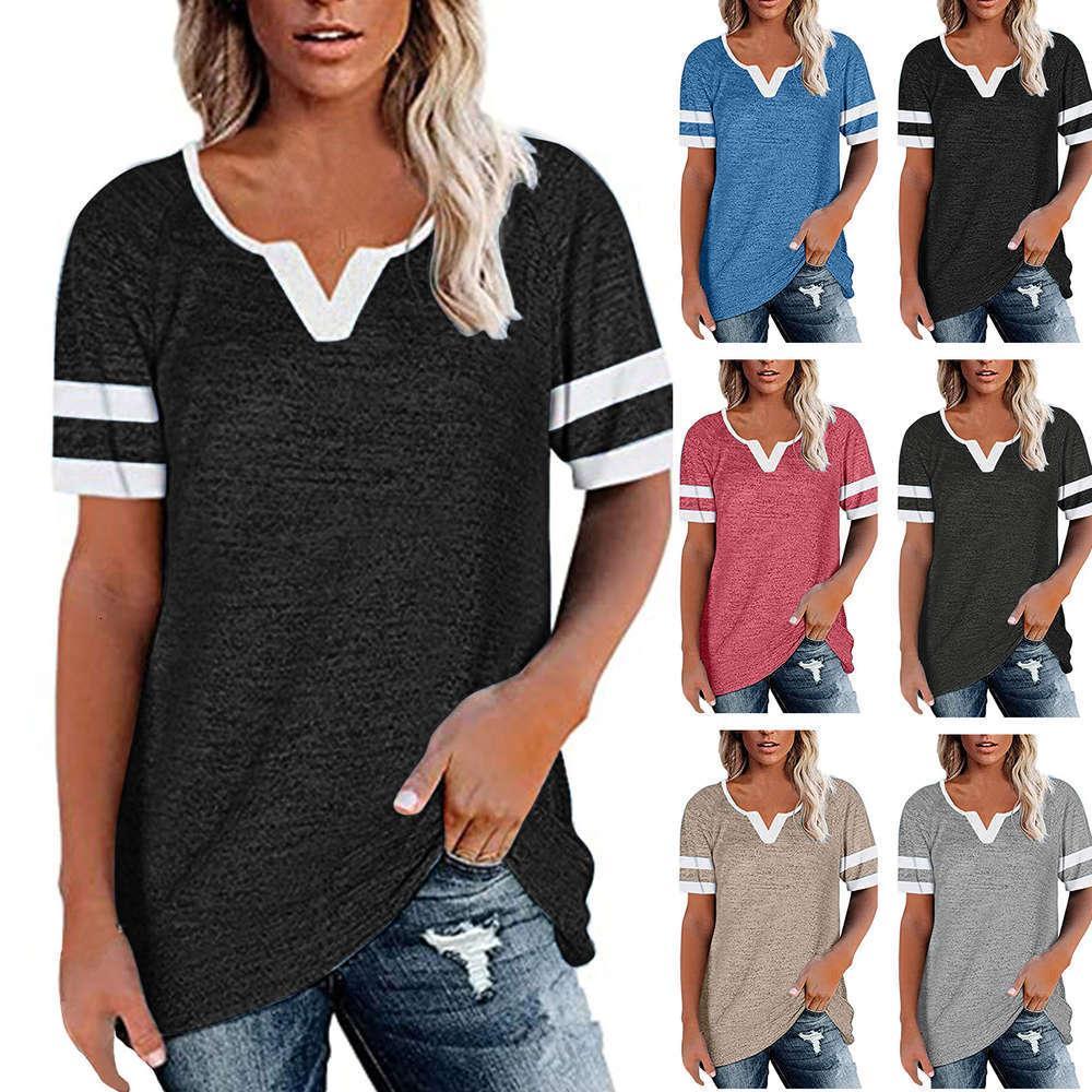 2021 Весна и летнее Новое Сращивание V-образным вырезом Повседневная T Рубашки с коротким рукавом Свободная женская