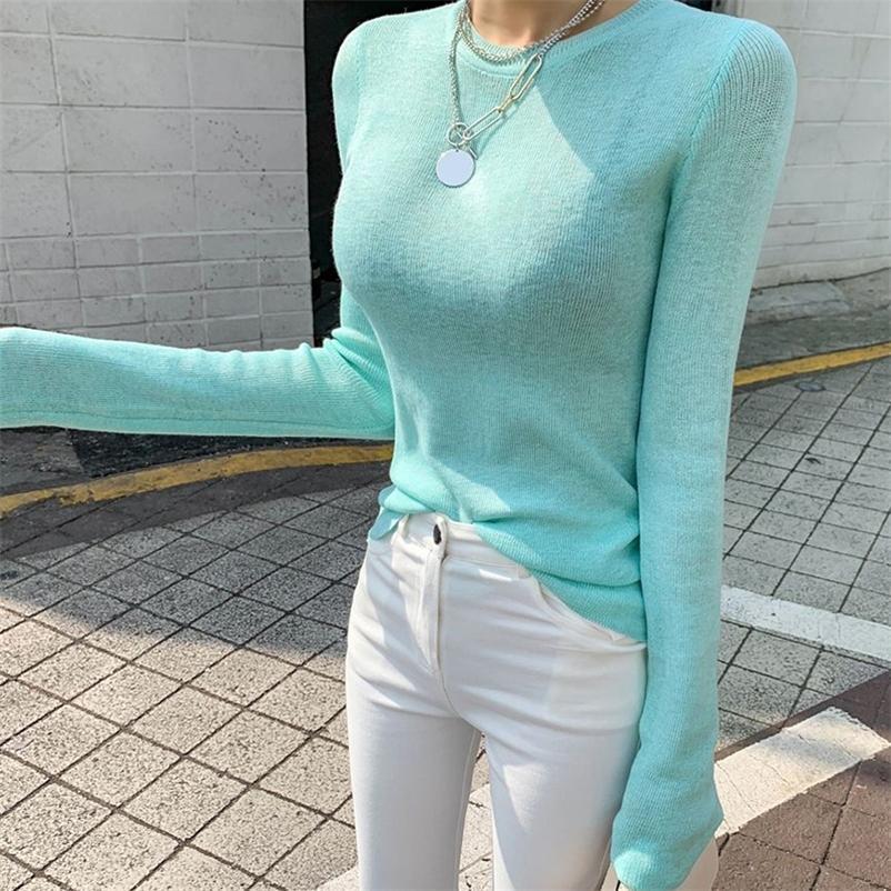 Shintimes Тонко вязаная футболка Женщины Корейская Одежда Высокая Эластичная Футболка Женщина Топы Повседневная Tee Рубашка Femme CamiSas Mujer 210315