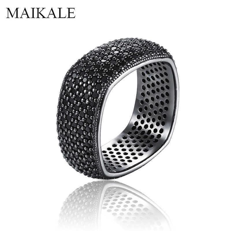MAIKALE Luxury Square Gun Black Color Rings Paved AAA Cubic Zirconia Finger Ring Wedding Band Rings for Women Party Jewelry Gift Y0723