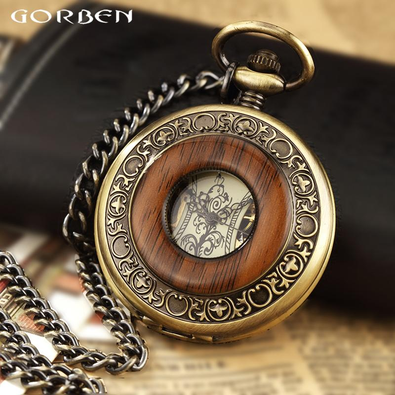 Solid Wood Mechanical Pocket Watch FOB Chain Locket Dial Hollow Steampunk Skeleton Men Women Mens Male Clock Watches Box Package C0225