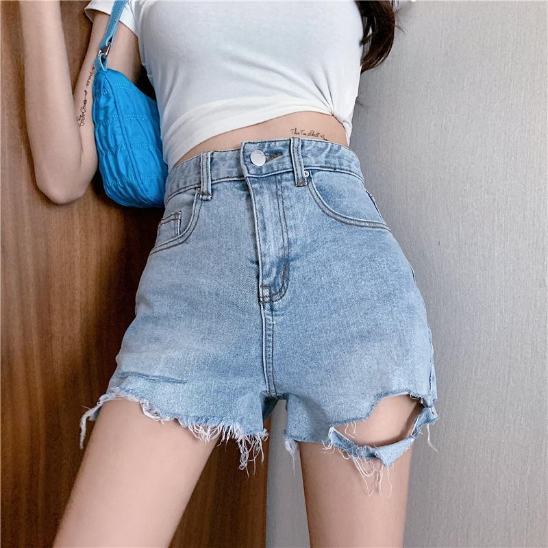 여성 반바지 여성 높은 허리 데님 한국 패션 찢어진 구멍 술 청바지 여성 여름 캐주얼