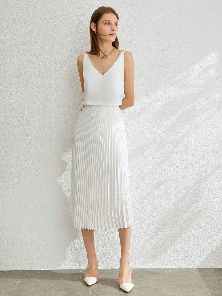 İlkbahar Yaz Ofis Giyim Beyaz Siyah Uzun Etek Vintage İngiltere Tiki Tarzı Elastik Bel Temel Akordeon Pileli Etekler 210305
