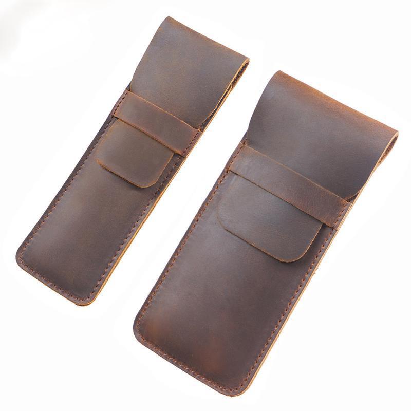 Designer Brand DIY Handmade Pen Cover Bag Pocket Wallets For Women And Men Genuine Leather Stationery Protecter Purse Case