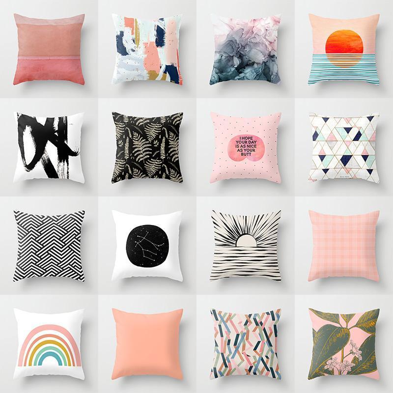 Kissen / Dekorative Kissen Foreverstar Rosa Sun Erhöhen wirft Wurfkoffer Mid Century Geometrische Kissenbezüge für Home Sofa Stuhl Dekorative Pillowca