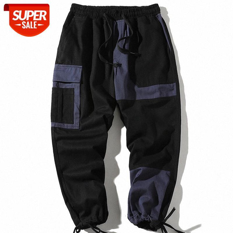 Hip Hop Joggers Men 2021 Осенняя лоскутная мульти-карманные эластичные талии спортивные штаны мужские брюки уличные брюки для грузов мужчины # PG3T