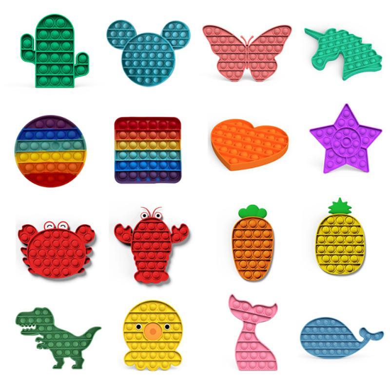 57 Стили Go Go Bang Foxmind Push Pop Bubble Fidget Sensory Toy Autism Особые нуждающиеся Стресс Возвращение Игрушки Детей Смешные Антистресс Fidget Toys