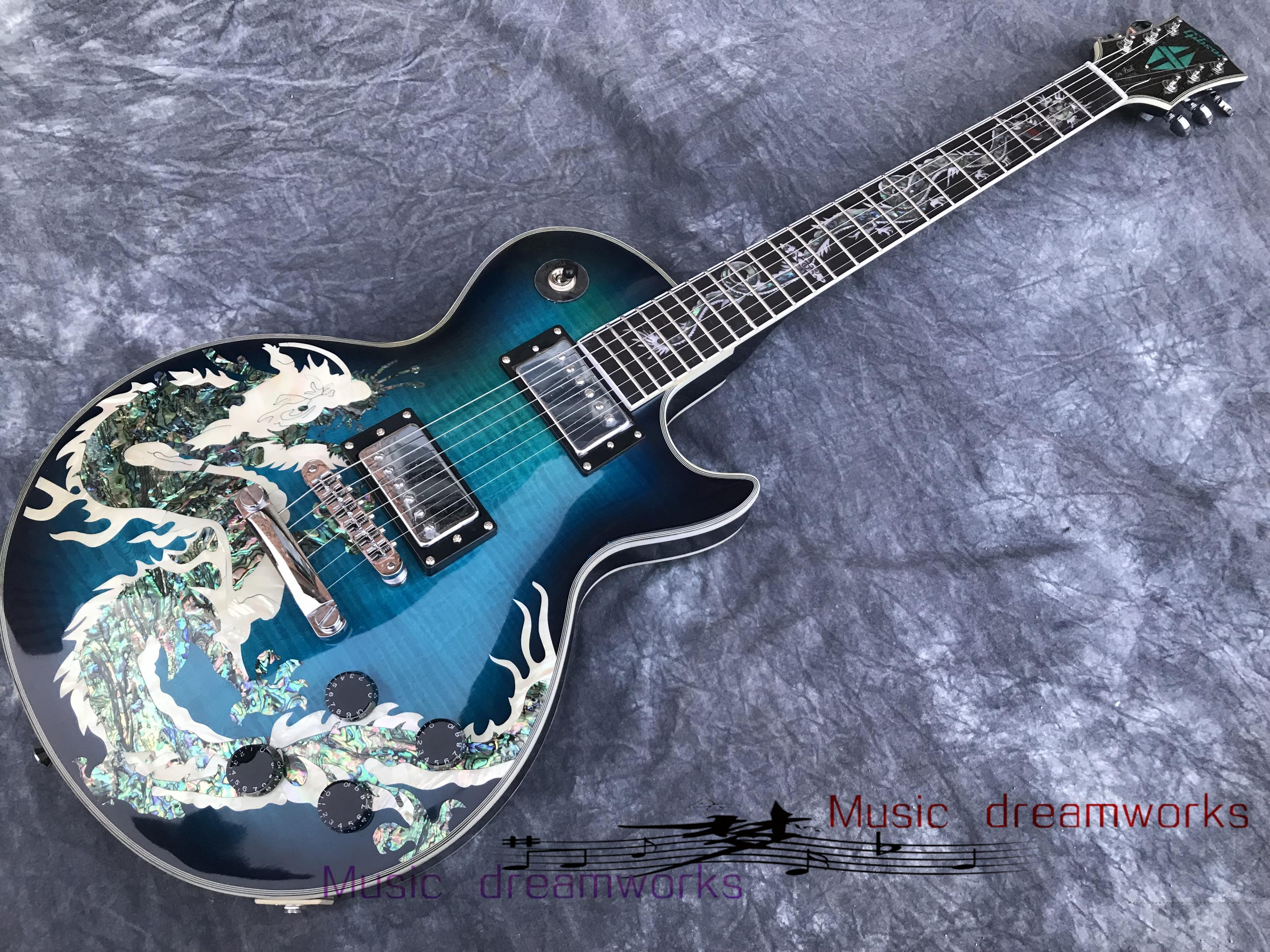 Çin Elektro Gitar OEM MAĞAZASI Elektrik Gitar Vücut Doğal Inci Kabukları Ejderha Dökme Gülağacı Klavye Dragon Dökme