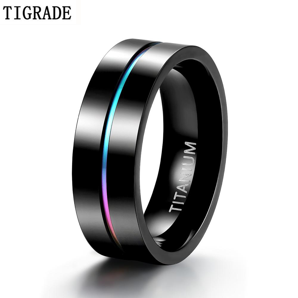 Tigrade 7mm Bunte Ring Männer Schwarz Titan Männer Hochzeit Verlobungsringe Regenbogen Ring Männliche Modeschmuck Bague Homme Anels 210310