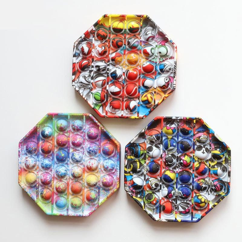 Octagon Multicolor Pop Fidget Toys Autism Special Kids Pay Helps Relieve Stress Increase Focus Soft Squeeze Toy DHL