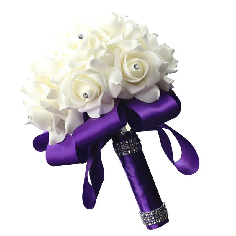 Nouveau Mariage Bouquet de Mariage Ruban PE Mousse Fleurs artificielles Bridal Main Main Bouquet De Moyenne Moyenne Moyenne Holding Fleurs Fournitures de mariage