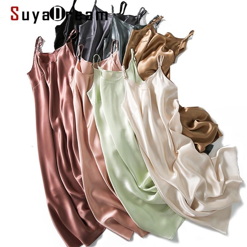 SuyadaDream Seda Seda Sueño 100% Real Silida Satin Spaghetti Correa Long Nightgowns Verano Nuevos vestidos de casa 210309