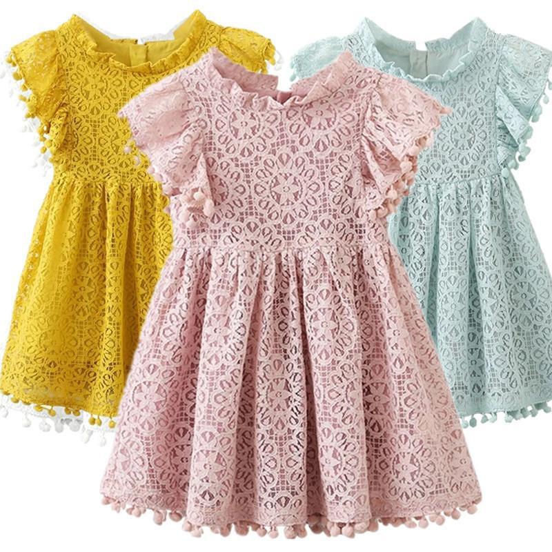 Little Girls Kids Summer 2020 Vestido de flores de chifón de encaje sin mangas Princesa Vestido de fiesta de cumpleaños de la princesa Ropa casual C0223