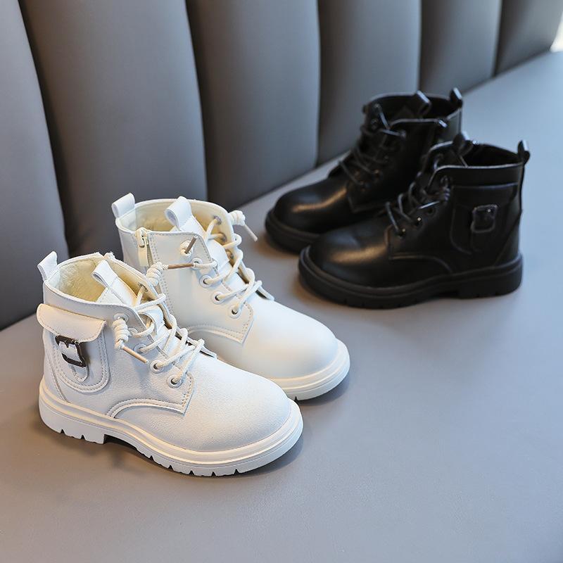 Детские туфли для девочек Осень 2021 Новая Одиночная Средняя Школа Маленький Маленький Мартин Сапоги Мода