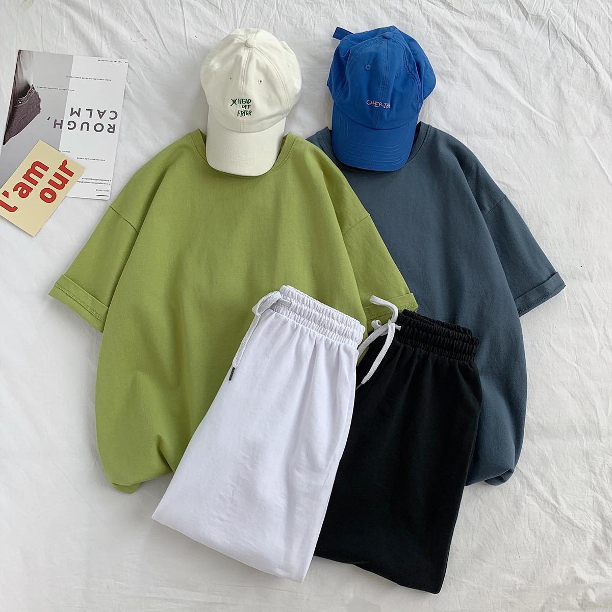 스포츠 및 레저 정장 망과 여자 순수한 면화 티셔츠 반바지 2 피스 슈트 인 패션 브랜드 커플 학생 자른 바지 fashi