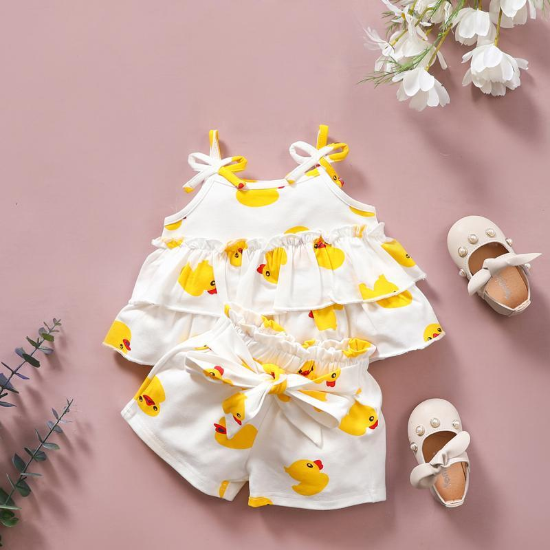 40 # الملابس للأطفال أطفال الفتيات الحيوان الكرتون أكمام الصفراء قليلا المطبوعة حبال الطبقات أعلى + السراويل مجموعة روبا نينا