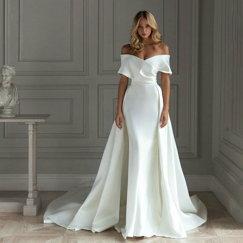 Günstige Einfache Neue Ankunft Satin Meerjungfrau Brautkleider mit abnehmbarer Zug aus Schulter Bridal Kleid Brautkleid Vestido de Noiva