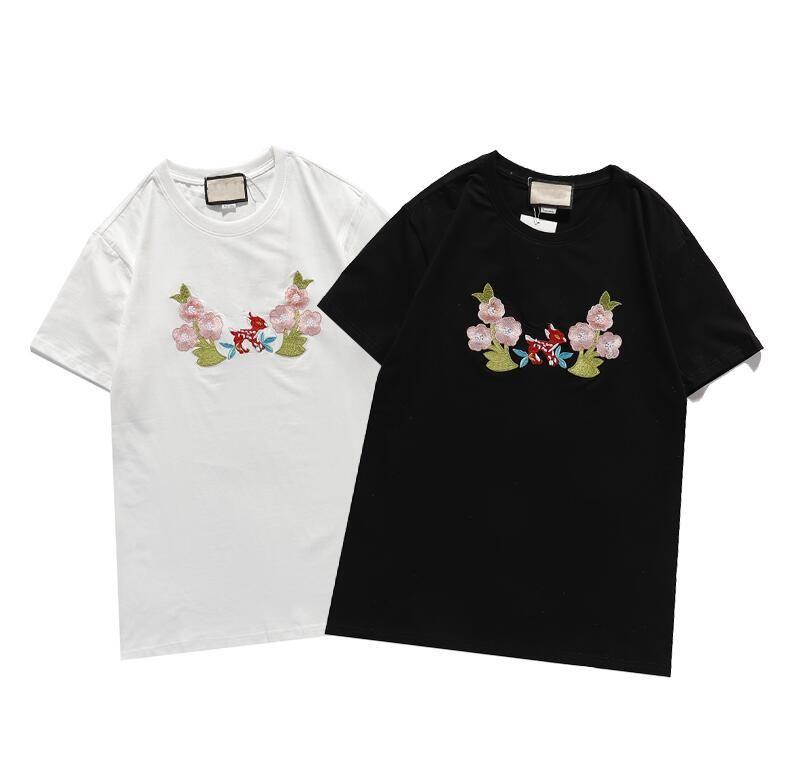 2021 Новые дизайнеры T Рубашки Мужские чистые хлопковые бренды Вышивка с короткими рукавами Тенденция классической короткоманевой верхней тонкой дышащей дышащей