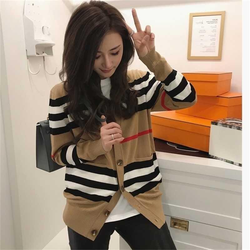 Frauen-Pullover-Frauenjacke Kaschmir-Strickjacke mittellang gestrickte Jacke V-Ausschnitt lose gestreifte Pullover dünne Damen Trenchcoat 201127