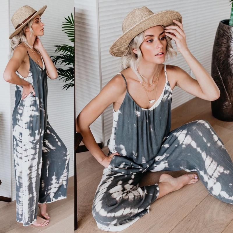 Women's Jumpsuits & Rompers Philosophy Summer Print Beach Jumpsuit Cotton Holiday Loose Sleeveless Over Size