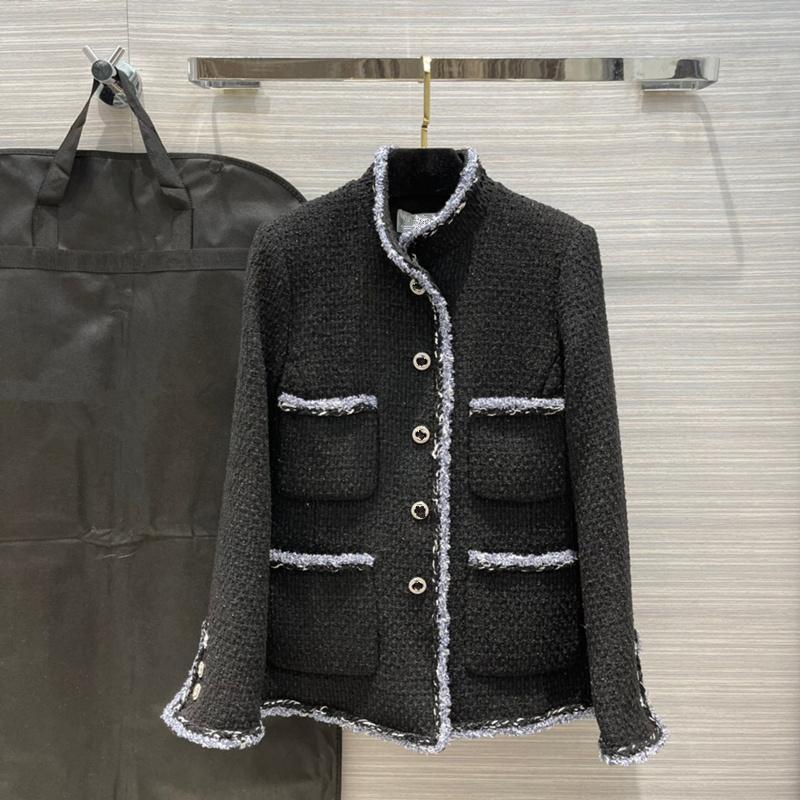 유럽과 미국 여성 2021 겨울 새로운 컬렉션 긴 소매 싱글 브레스트 스탠드 칼라 유행 트위드 코트