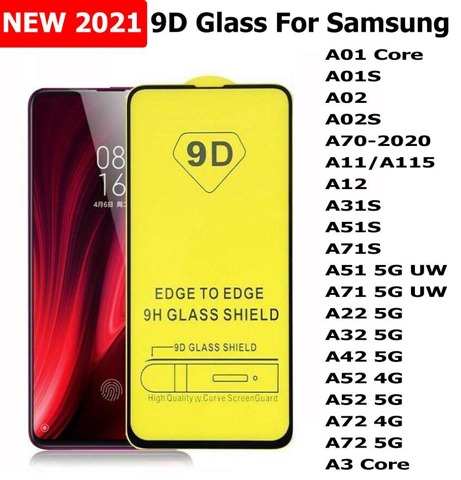 9d غطاء كامل زجاج مقسى حامي الشاشة ل A31S A51S A71S A22 A32 A42 A52 A72 5 جرام A3 الأساسية سامسونج A01 الأساسية A02 A02S A70 2020 A11
