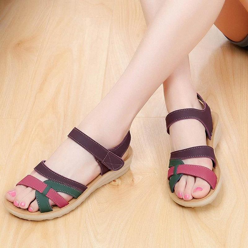 McCKLE Moda Kadın Sandalet Artı Boyutu Kadın Takozlar Ayakkabı Karışık Renk Rahat Yaz Platformu Topuk Bayanlar Kanca Döngü Foorwear W97B #