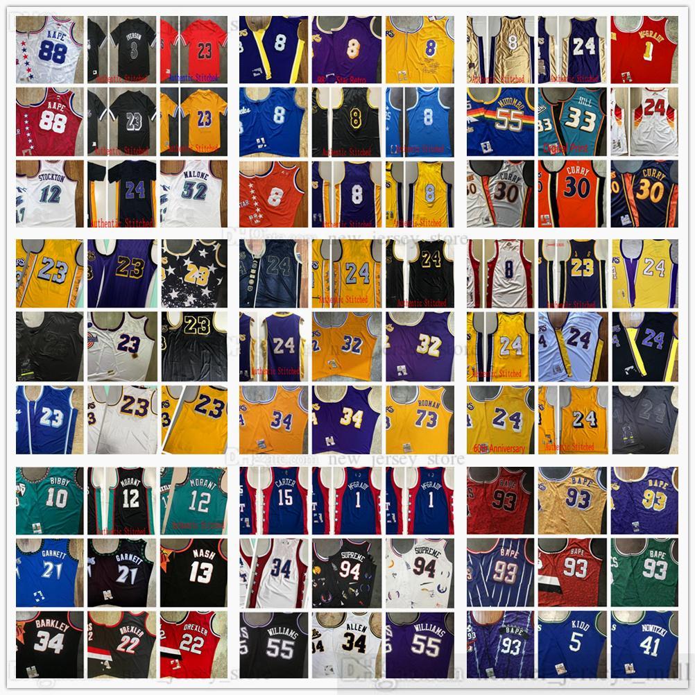 Аутентичные Швы Западный Ретро Баскетбол Майки высшего качества Настоящая Вышивка Желтый Белый Зеленый Синий Фиолетовый Черный Красный Джерси Размер XS-XXL
