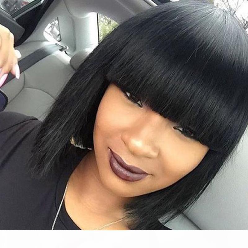 Perruques courtes en dentelle brésilienne Human Human Coiffe Construit Cheveux Remy Cheveux Short Dentelle Front Human Hair Bob perruque avec fringes pour femmes noires