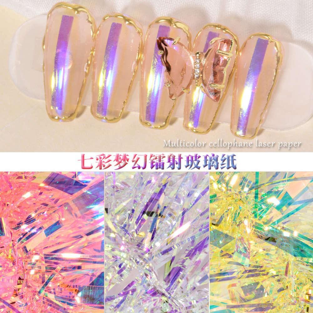 Maniküre Aurora Aufkleber, langes Glas, Zauberpapier, Tiktok, roter Laserspiegel, Kastenglasaufkleber.