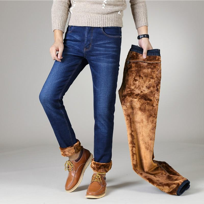 Stretch Jeans Mens Winter Quality Fleece Pants Men Straight Flocking Trousers Jean Male Winter Thermal Warm Flannel