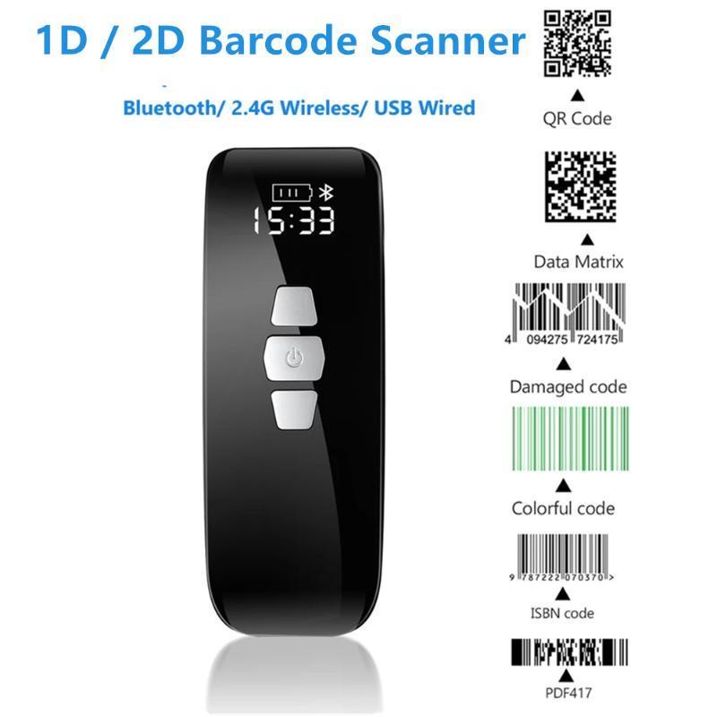 1d QR 2D Bluetooth Wireless BarCode Scanner 2.4G Sem Fio Usb Wired Mini Leitor de Código de Barra Com Data da Tela LCD Matriz Digitalização