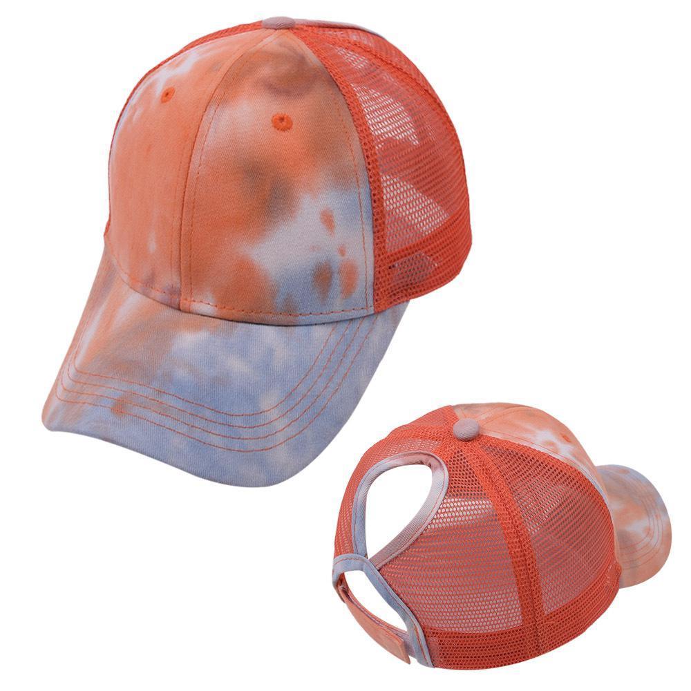 Krawatte farbstoff Pferdeschwanz Baseballkappen gewaschener Trucker Hüte Kappe Outdoor Visor Snapbacks Caps Peared Hat Party Hats FWB5422