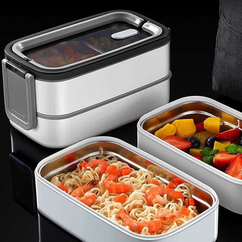 Caja de almuerzo de doble capa Portátil Acero inoxidable Eco-amigable con aislamiento de alimentos Almacenamiento de contenedores de almacenamiento Bento con bolso caliente NHF10038