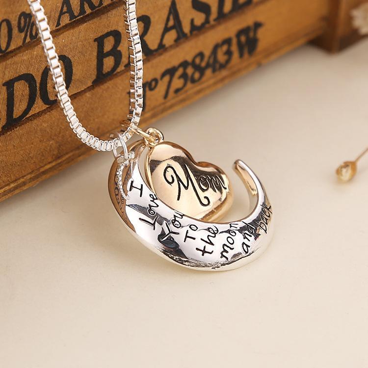 Yeni kalp takı seni seviyorum ay ve arka anne kolye kolye anne günü hediye moda takı w-00734