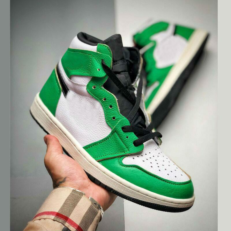 Yeni Varış 1 Yüksek OG 1 S Şanslı Yeşil Bayan Erkek Basketbol Ayakkabıları Açık Spor Ayakkabı Erkekler Eğitmenler